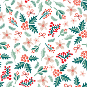 Merry and Bright Mistletoes and Poinsettia flowers on white