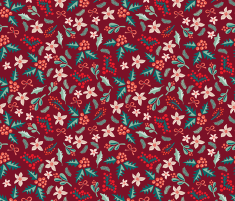 Merry and Bright Mistletoes and Poinsettia flowers on red fabric by sandra_hutter_designs on Spoonflower - custom fabric
