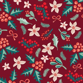 Merry and Bright Mistletoes and Poinsettia flowers on red
