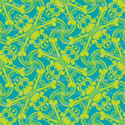 ★ PIRATE SKULL PLAID ★ Teal Blue and Lime Green - Small Scale / Collection : Funky Pirates - Skull and Crossbones Prints 2