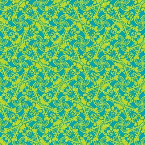 ★ PIRATE SKULL PLAID ★ Teal Blue and Lime Green - Small Scale / Collection : Funky Pirates - Skull and Crossbones Prints 2 fabric by borderlines on Spoonflower - custom fabric
