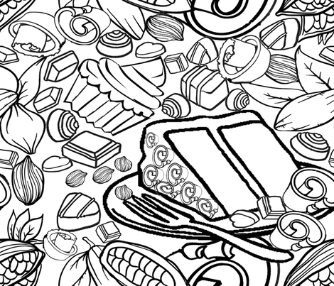 Chocolate Love no color for Food Frenzy fabric by lorloves_design on Spoonflower - custom fabric