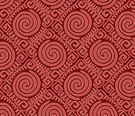 mola, red turtle fabric by hannafate on Spoonflower - custom fabric