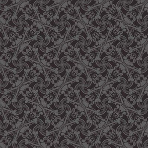 ★ SKULL PLAID ★ 'Black Bean' Black & Gray - Small Scale / Collection : Pirates Tessellations - Skull and Crossbones Prints