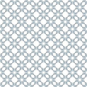 Blue Floral Heart Lace 3 inch repeat