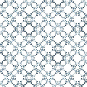 Blue Floral Heart Lace 4 inch repeat