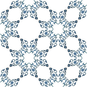 Blue Floral Heart Lace 12 inch repeat