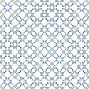 Blue Floral Heart Tile 3 inch repeat