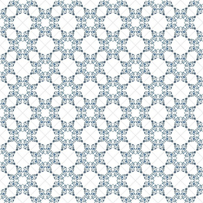 Blue Floral Heart Tile 4 inch repeat