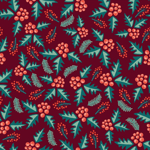 Mistletoes with branches and leaves on red