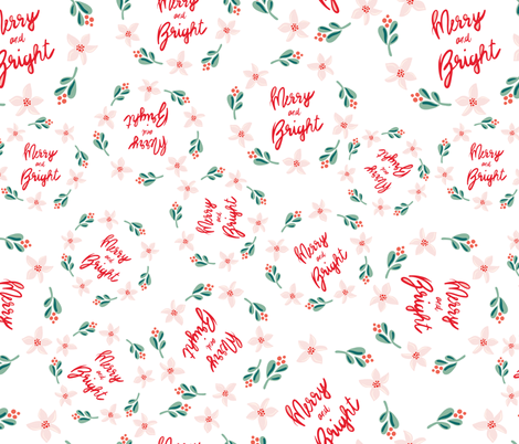 Merry and Bright Wreaths on white fabric by sandra_hutter_designs on Spoonflower - custom fabric