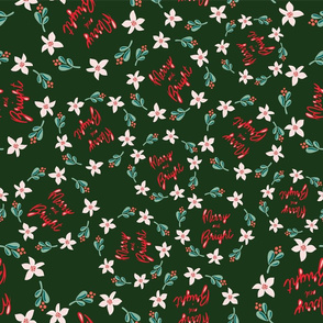 Merry and Bright Wreaths on dark green