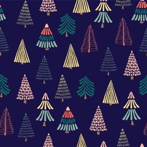 Doodle trees on dark blue