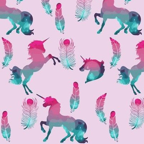 Galaxy Unicorns and Feathers Pink