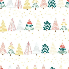 Doodle Christmas trees under the starry sky