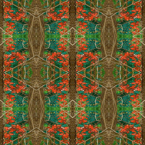 Emerald Forest w-red leaves _ brown bark trunks 18x18