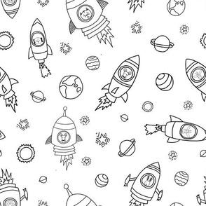 Space animals black on white