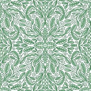 Green Leaf Doodle Medallion (Med Scale)