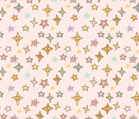 Be Awesome Stars {Petal} fabric by ceciliamok on Spoonflower - custom fabric
