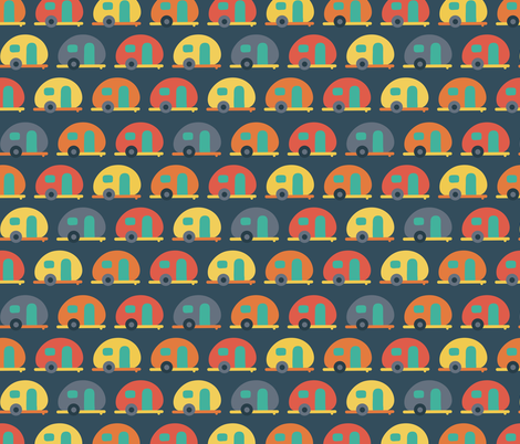 Campervan trailer RV caravans blue red yellow in a row. Dark blue background. Fun vehicle pattern for boys! fabric by sandra_hutter_designs on Spoonflower - custom fabric