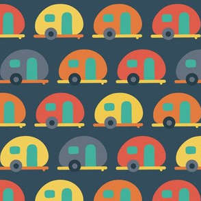 Campervan trailer RV caravans blue red yellow in a row. Dark blue background. Fun vehicle pattern for boys!