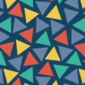 Red yellow blue teal turquoise triangles on a dark blue background. Scattered triangles. Randomly placed triangles. Geometric print.