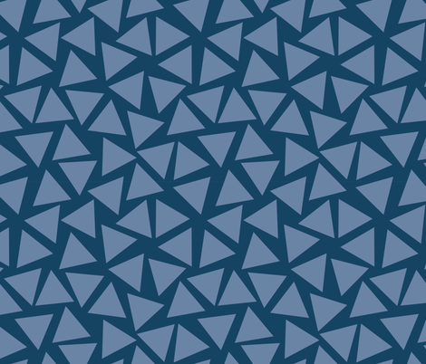 Blue triangles. Scattered light blue triangles on a dark blue background. Randomly placed triangles. Geometric pattern. fabric by sandra_hutter_designs on Spoonflower - custom fabric