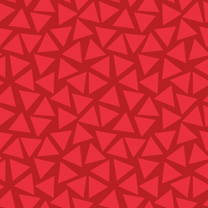Red triangles randomly placed. Scattered light red triangles on a dark red background. Geometric pattern.