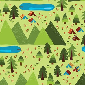 Teepee tents in the forest. Camping scene with trees, mountains, flowers, and lakes. Gypsy tents. Boho tents in the forest. Campsite.