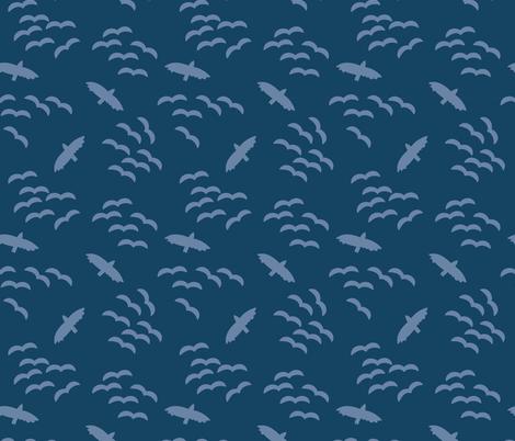 Flying birds. Bird silhouettes light blue on a dark blue background. Flock of birds. Swarm of birds.  fabric by sandra_hutter_designs on Spoonflower - custom fabric