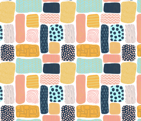 Geometric doodle shapes. Pink coral aqua blue gold orange navy blue abstract shapes. Rectangle pattern. Perfect for teenage girls and everyone else!  fabric by sandra_hutter_designs on Spoonflower - custom fabric