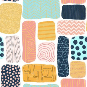 Geometric doodle shapes. Pink coral aqua blue gold orange navy blue abstract shapes. Rectangle pattern. Perfect for teenage girls and everyone else!