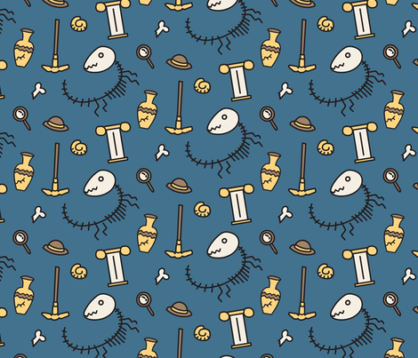 Dinosaur Fossil  fabric by paperondesign on Spoonflower - custom fabric