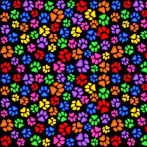 Rainbow Paw Print Scattered Small