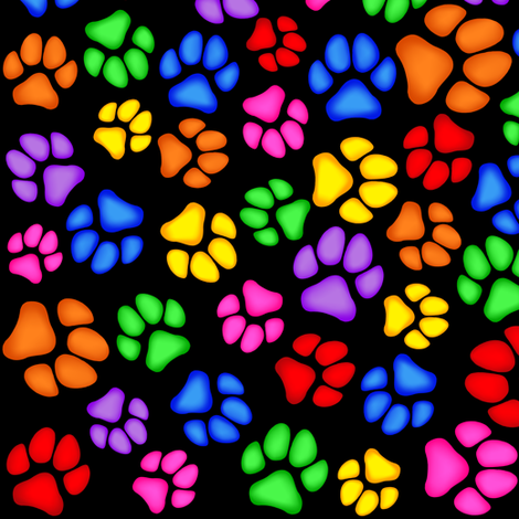 Rainbow Paw Print Scattered on Black Large fabric by olly's_corner on Spoonflower - custom fabric