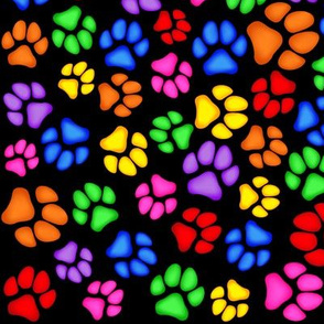 Rainbow Paw Print Scattered on Black Large