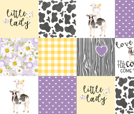 Little Lady//Love you till the cows come home Yellow/Purple - Wholecloth Cheater Quilt fabric by longdogcustomdesigns on Spoonflower - custom fabric