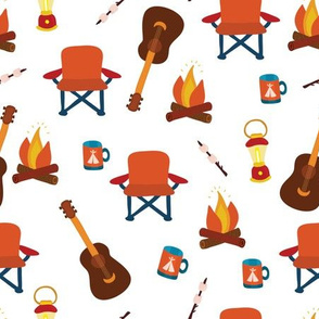 Camping print. Camping chair, campfire, coffee mug, marshmallow, camping lantern, and guitar on a white background.