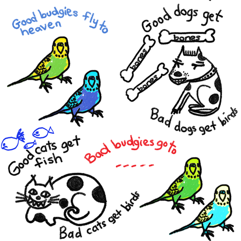 Reality bites: good budgies...cats...dogs... fabric by su_g on Spoonflower - custom fabric