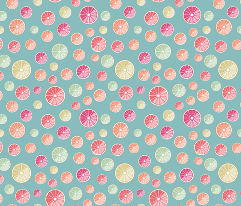 colourful citrus slices on blue fabric by colorofmagic on Spoonflower - custom fabric