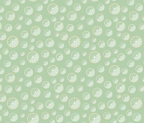 citrus slices on green fabric by colorofmagic on Spoonflower - custom fabric