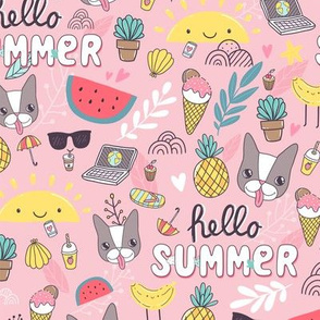 Hello Summer design with French bulldog