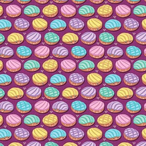 Kawaii Mexican conchas // tiny scale // pink purple background