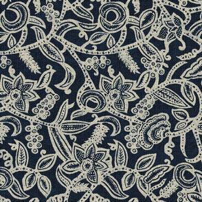 Vintage floral lace Dark blue invert