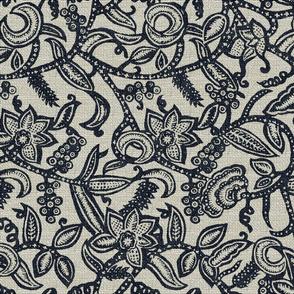 Vintage floral lace Dark blue