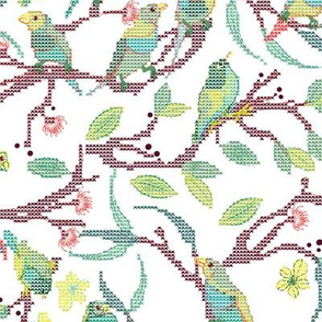 Forest Birds Cross Stitch daylight