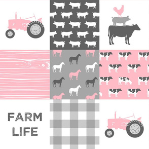 Farm Life -  Patchwork - Carnation and grey - baby girl farm themed nursery patchwork fabric