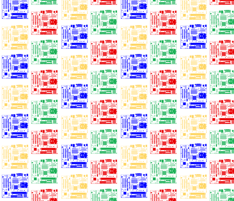 Minimalist Motherboards, on White fabric by anneostroff on Spoonflower - custom fabric