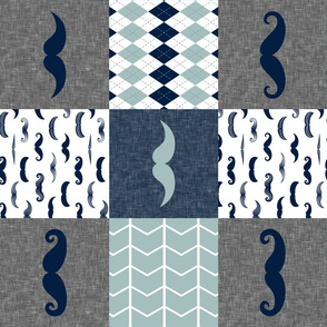 mustaches in navy and dusty blue with argyle (90)