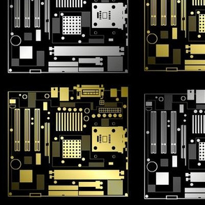 Metallic Motherboard Outline